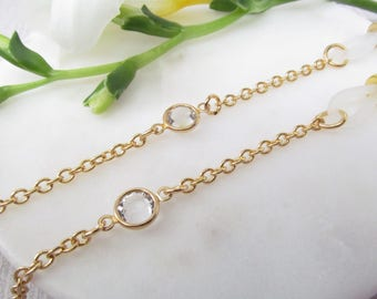 Gold Chain for Readers with Swarovski Crystal Accent, Chain for Glasses Lanyard, Reading Glasses Chain, Eyeglass Chains, Gift for Her
