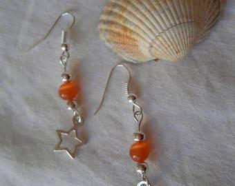 BO 453 - Orange star earrings