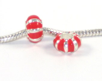 3 Beads - Neon Red Enamel Silver European Bead Charm E0773