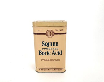Squibb Boric Acid Tin - Vintage Medical Decor Tin - First Aid Tin - Display - Prop - Collectible - Medical Display - Apothecary Collectible
