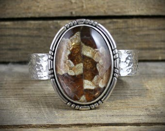 Hammered Silver Snakeskin Cuff - Quartz Cabochon with Natural Snakeskin - MADE TO ORDER