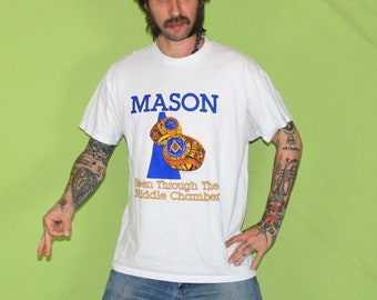Vintage Cult 90s Freemason Shirt. Masonry Club Class Ring T Shirt Print Conspiracy Square And Compass Symbol. Freemasonry XL T Shirt.