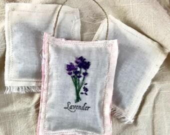 Organic French Lavender Sachet Set - Embroidered