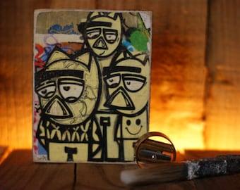 Berlin Wall photograph hand printed  onto  wood