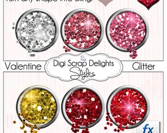 Photoshop Glitter Styles in Red, Pink, Silver, and Gold, Instant Download