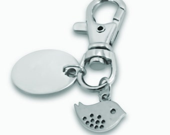 Llavero personalizado grabado / personalizado pequeño pájaro con bolsa de regalo - PL159