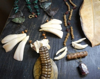 The Ghost Shaman of Arrowhead Creek Talisman Protection Wearable Art Assemblage. Genuine Rattlesnake Rattle, Coyote Bones & Teeth, gemstones