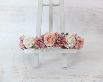 Flower crown - mauve blush pink off white wedding flower crown - floral hair wreath - bridesmaid hair accessories - flower girls