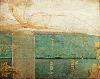 "Book Photograph, Rustic Book Decor, Old Book Print, Antique Book Art, Green Cottage Chic Art, Rustic Office Library Art- ""Teal Treasures"""