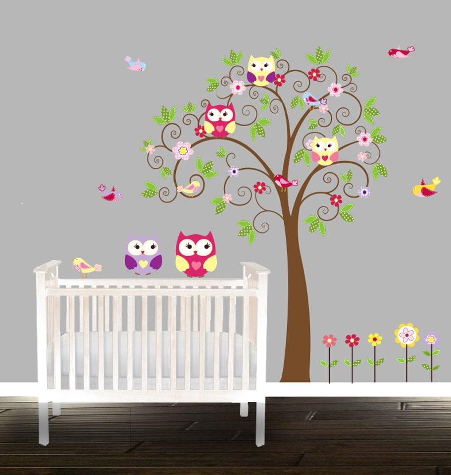 Eule Wand Baum Aufkleber Kinderzimmer Wandtattoo Wandaufkleber