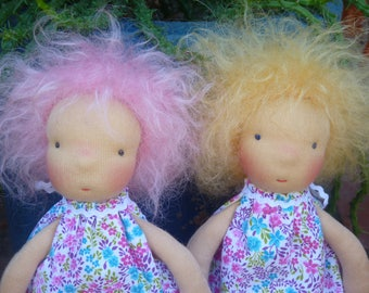 """Waldorf inspired fairy doll with butterfly,10"""",OOAK,pink/blonde hair,brushed mohair,cloth doll, rag doll,fabric doll, natural fiber art doll"""