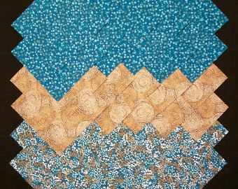 TEAL & BROWN 5 inch Squares, 100% Cotton Prewashed, Quilt Fabric (#F/112A)