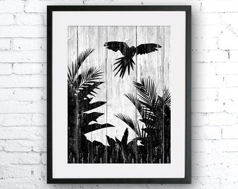 Parrot art illustration print, Parrot painting, Parrot silhouette, animal illustration, Wall art, Rustic Wood art,Animal silhouette,bird art