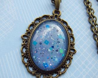 Blue Glitter Sea/Sky Necklace
