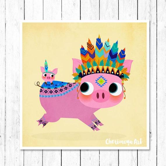 Tribal Pig Print Cute Piggy Pig Nursery Wall Art Nursery Decor