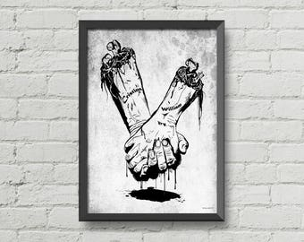 Till death do us part - custom names on the arms,personalized design,made to order,tattoos,gothic,poster,digital print,black and white,love