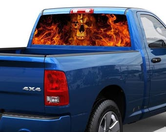 flame skull skeleton death Rear Window Graphic Decal Sticker Truck SUV Pick-up 1