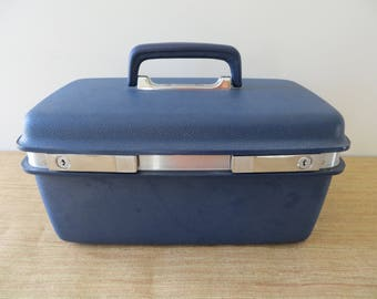 Vintage Samsonite Concord Train Case - Navy Blue Travel Cosmetic Case