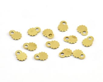 Tiny Brass Charm, 100 Raw Brass Charms (4x5mm) Brs 8089 L006
