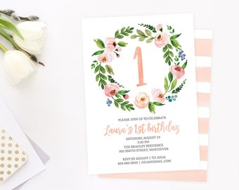 1st Birthday Invitation, Floral 1st Birthday Invitation, 1st Birthday Invite, Girl First Birthday Invitation, Kids Birthday Invitation
