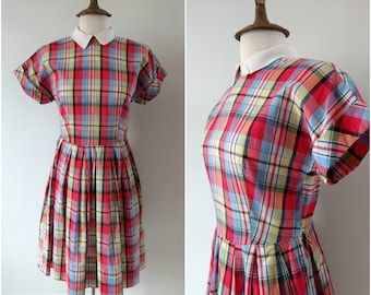 Vintage 1940s check cotton day dress, size small