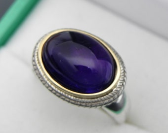 AAAA Amethyst Natural Cabochon   14x10mm  6.0 Carats   in 18K Yellow gold and Sterling silver ring.  0827 y