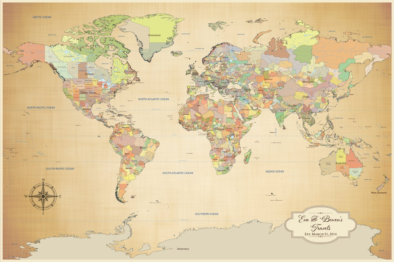 personalized push pin world map with pins canvas print world
