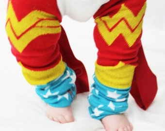 CLOSEOUT SALE Baby to Toddler Wonder Woman Baby Leg Warmers with Capes, Halloween Costume, Dress Up, Christmas present