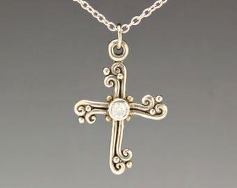 White Gold Cross/ Gold Moissanite Cross/ Diamond Cross/ Cross Pendant/ April Gemstone/ Religious Necklace/ Easter Gift/ Gift for Her/ Cross