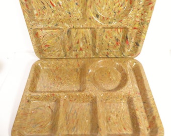 Vintage Texas Ware Confetti Lunch Trays - Texas Ware Cafeteria Trays - 2 School Cafeteria Trays