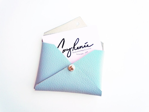 Leather business card case card holder blue leather coin like this item reheart