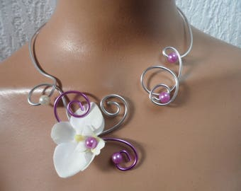 Bridal necklace - silver purple and ivory - Orchid