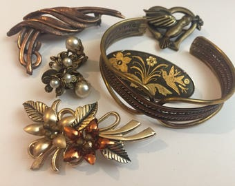 Vintage Copper And Gold Mixed Costume Jewellery Lot, Cuff Bangle, Damascene, Brooch, Bracelet And Earring Job Lot