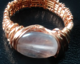 Rose quartz copper ring size: 10