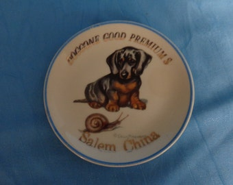 Vintage Advertising Plate ~ Salem China Company ~ Doggone Good Premiums ~ Doxie Dachshund Wiener Dog ~ Artist Signed ~ Edwin Megargee