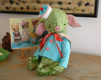 PDF Epattern for 11 inch Artist Mohair Teddy Piglet Sailor Lars - the patterns for the shirt and hat are included