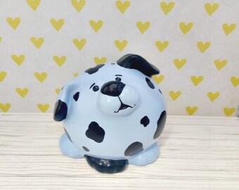 Blue Dalmatian Puppy Piggy Bank, Piggy Bank, Puppy Piggy Bank, Spotted Puppy Piggy Bank, Blue Piggy Bank, Baby Bank, Customizable Piggy Bank