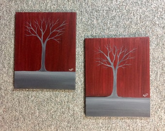 Burgundy and silver trees