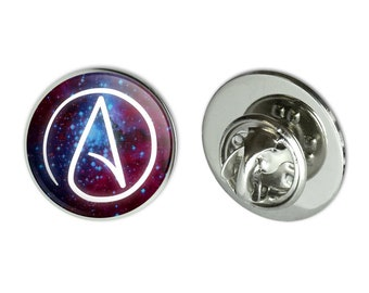 """Atheist atheism symbol in space metal 0.75"""" lapel hat pin tie tack pinback"""
