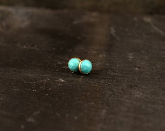 Rose Cut Gemstone Stud Bezel Earrings ( Rose Gold Sterling Silver Turquoise Moonstone Labradorite Chalcedony Chrysoprase Gifts for Her)