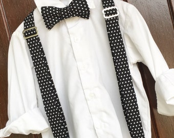 Deep Black with White Polka Dots Adjustable Baby / Toddler Bow Tie