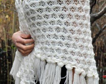 Vintage 70s Crochet Shawl  Gypsy Stevie Nicks