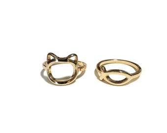 Cat & Fish Ring Set