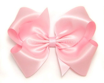 "Pink Satin Hair Bow, Extra Large Satin Bow, 6 Inch Satin Bow for Girls, Soft Pink Bow for Flower Girls, Weddings, Womens Hair Bows, 6"" Bow"