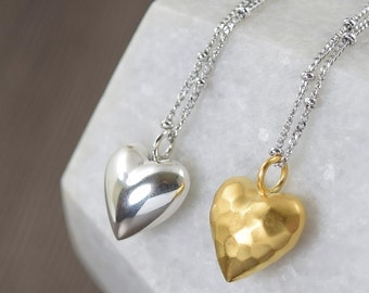 Heart necklace gifts for her Sterling Silver heart necklace I Love You necklace vermeil gold necklace
