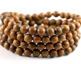 108PCS 8mm Fragrant Green Sandalwood Verawood Prayer Buddha Mala Meditation Beads Round Loose Beads BULK LOT (90182707-398)