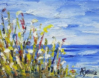 "Seascape art Beach painting Ocean painting Beach art Original seascape oil painting Seascape painting Beach artwork Coastal painting 6x8"""