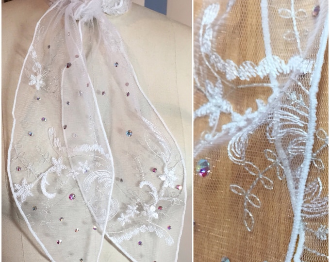White Bridal Lace Western Scarf with Beading and Swarovski Crystals