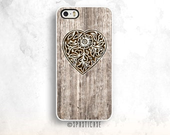 Heart iPhone 6S Case, Wood iPhone 5S Case, Carved Heart Wood, iPhone 6 Case,Heart iPhone 6 Plus Case, iPhone 5C Case,iPhone 6 Case, iPhone 5