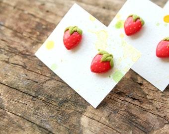 Strawberry earrings, tropical earrings, miniature food jewelry, fruit earrings, strawberry jewelry, summer jewelry, small stud earrings